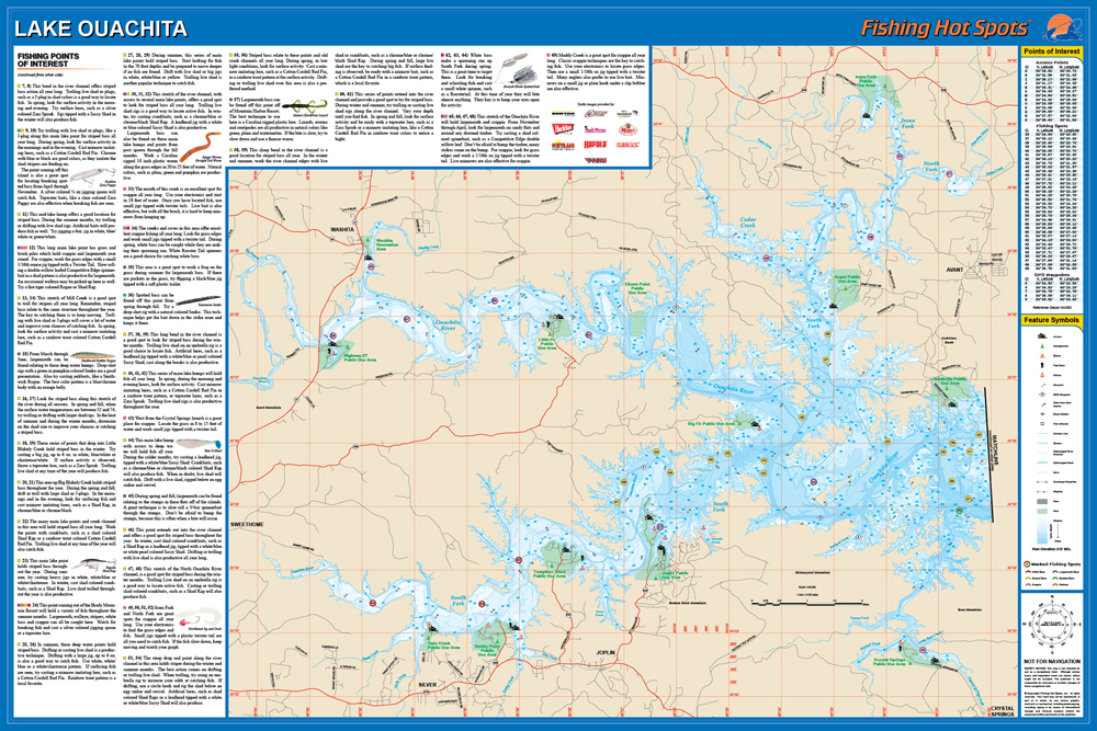 Lake Ouachita Map Ouachita Lake Fishing Map