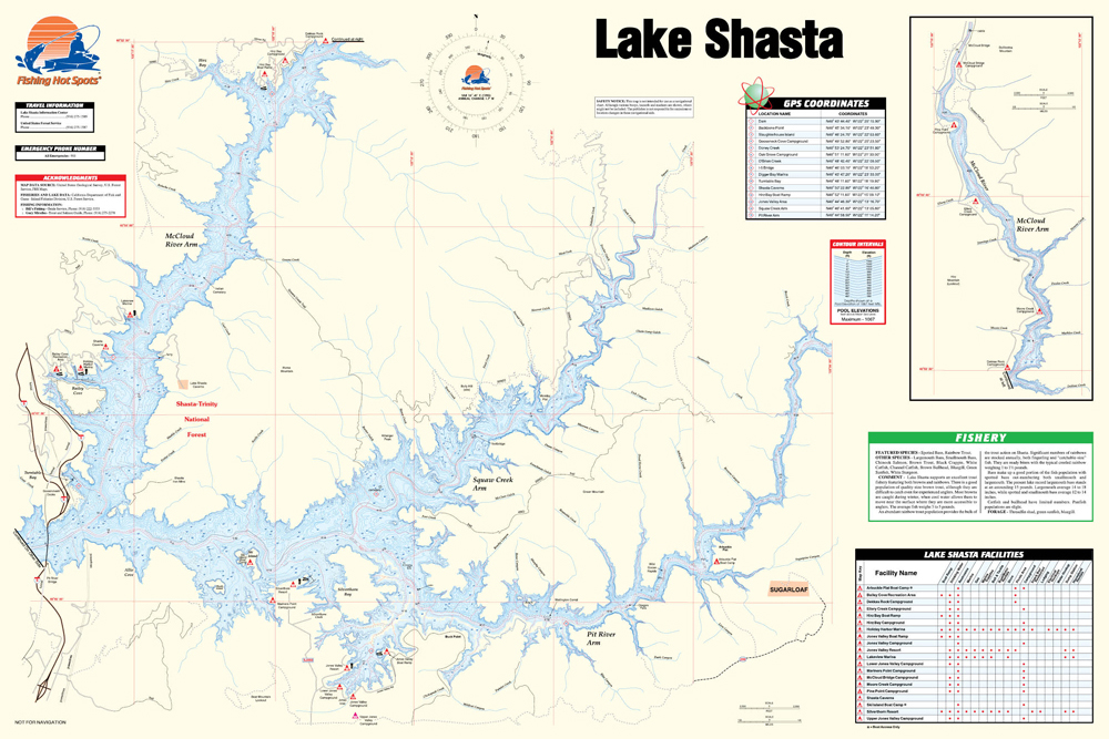 lake shasta fishing map Shasta Lake Fishing Map lake shasta fishing map