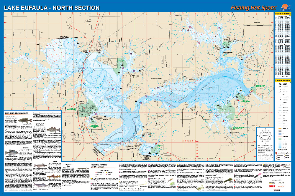 Eufaula fishing map lake north north of hwy 9 bridge fishing map publicscrutiny Images