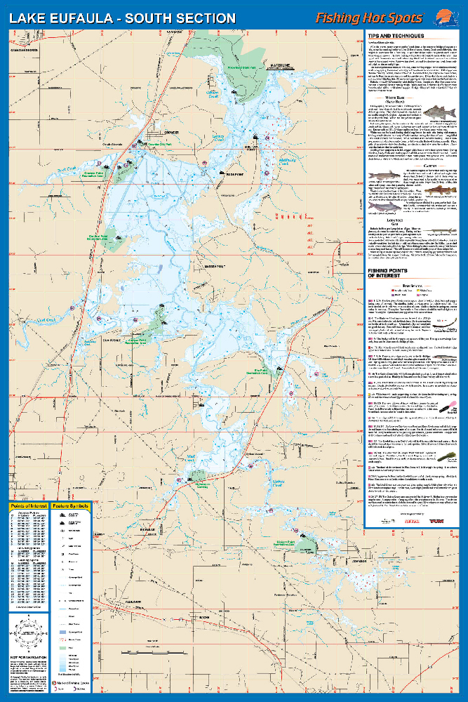 Eufaula fishing map lake south south of hwy 9 bridge fishing map publicscrutiny Images