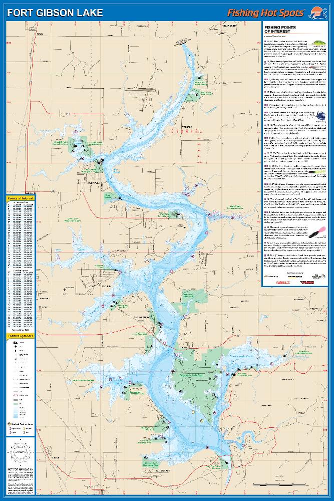Fort Gibson Lake Fishing Map