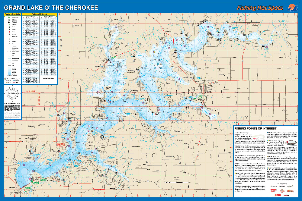 Grand Lake O The Cherokees Fishing Map Lake Fishing Map - Oklahoma map of lakes