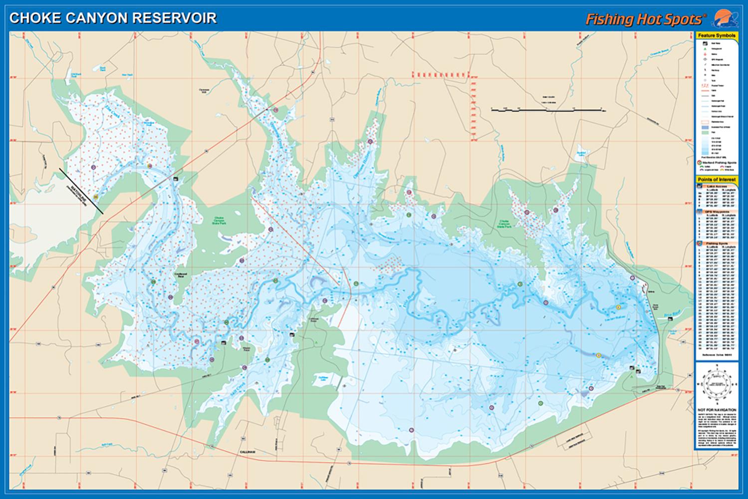 Choke Canyon State Park Map Choke Canyon Reservoir Fishing Map