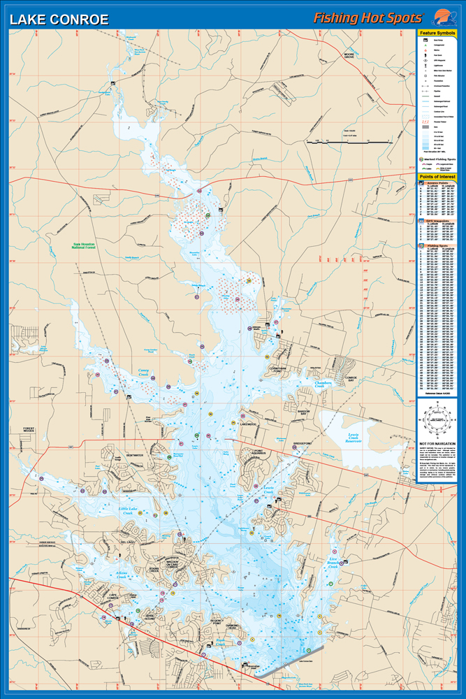 Conroe fishing map lake for Lake conroe bass fishing