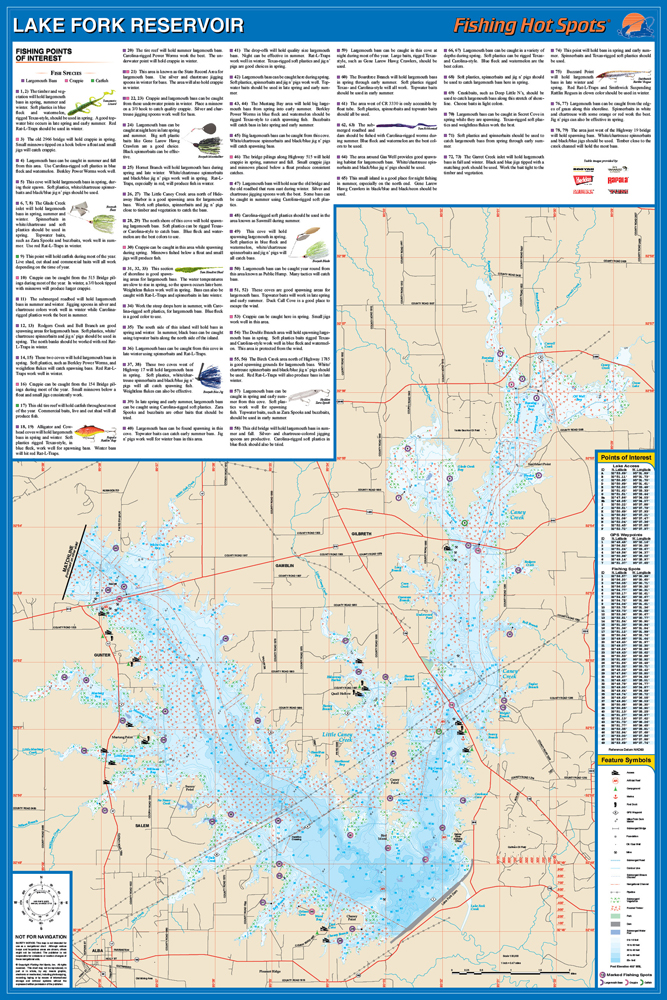 Fork reservoir fishing map lake for Lake fork fishing hot spots