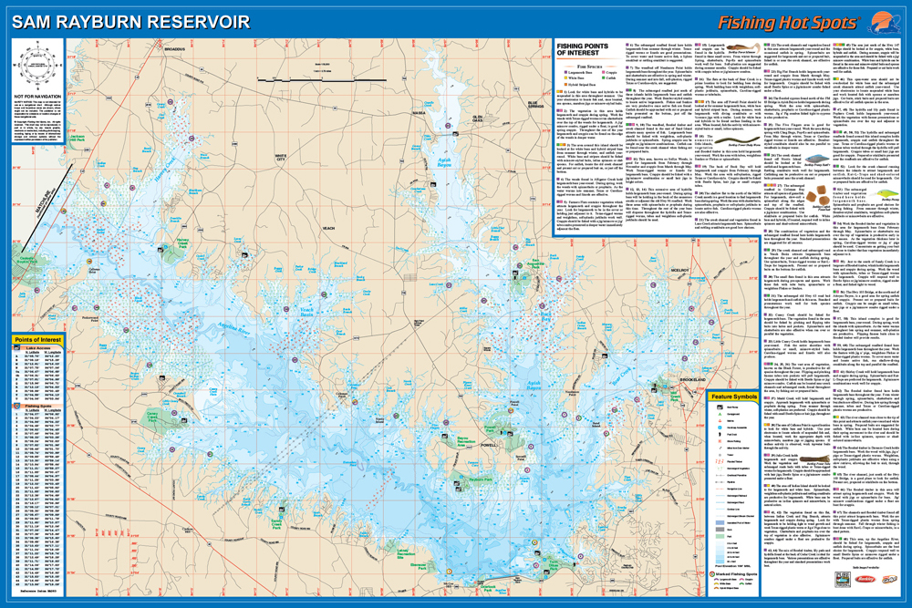 Sam rayburn reservoir fishing map for Fishing sam rayburn