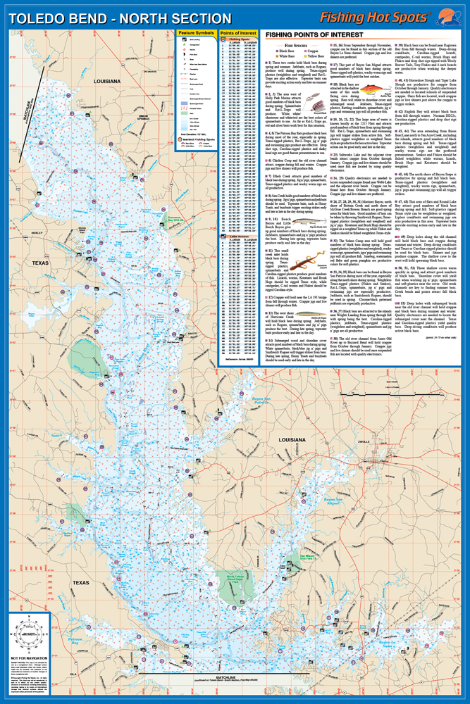 map of toledo bend lake Toledo Bend South Section Dam To Patroon Bay La Tx Fishing Map map of toledo bend lake