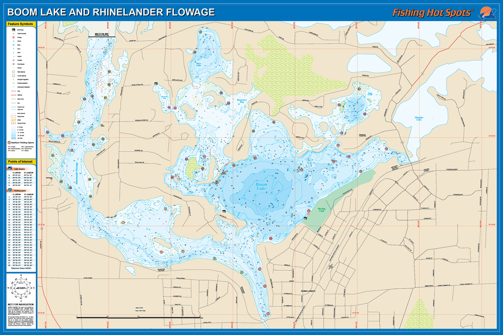 Boom Rhinelander Flowage Fishing Map Lake Oneida Co - Wisconsin topographic lake maps