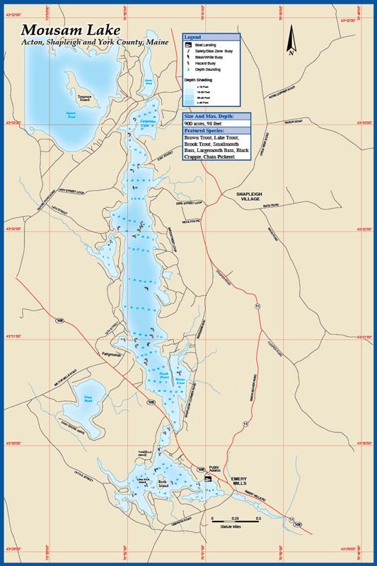 Long Lake Brandy Pond Fishing Map