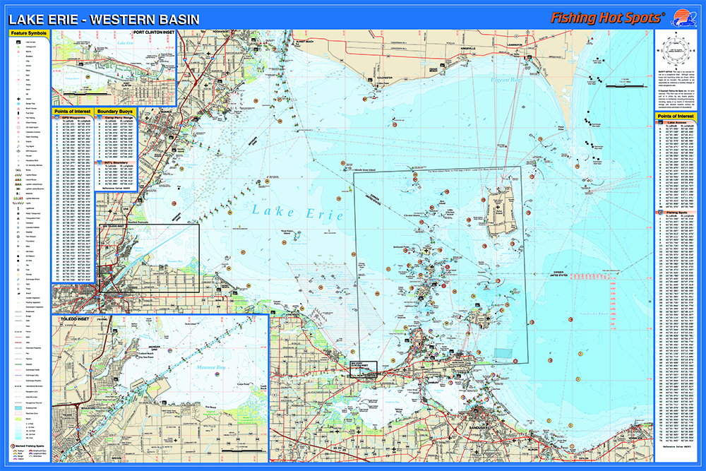 erie fishing map lake western basin fishing map lake