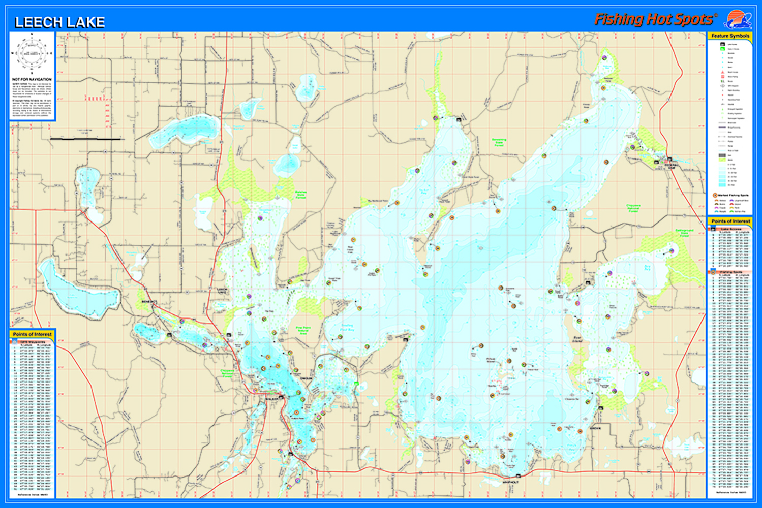 Leech Lake Map Leech Lake Fishing Map