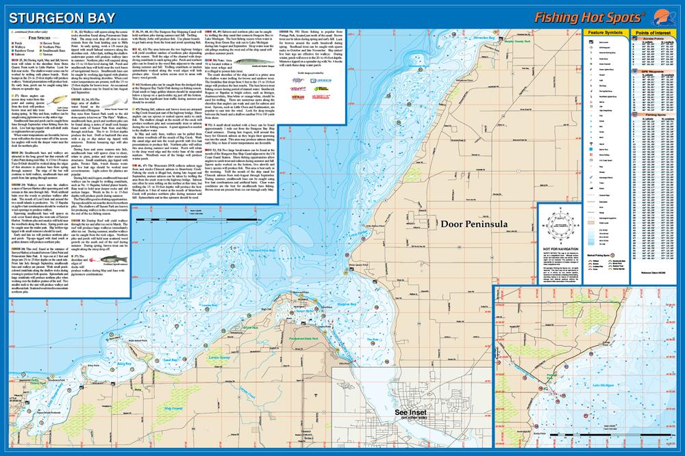Sturgeon BayMichigan Fishing Map Lake Door Co - Fishing hotspot maps