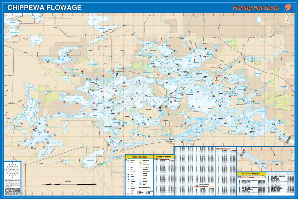 Chippewa flowage sawyer co fishing map for Fishing hot spots maps