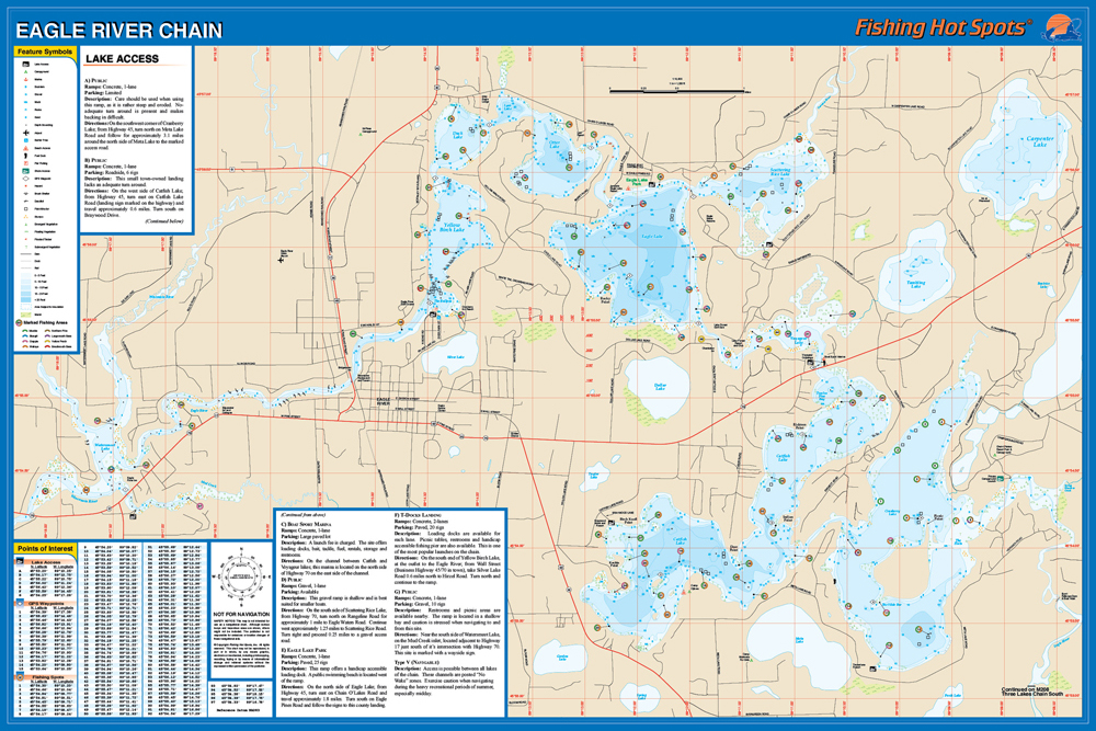 Eagle River Chain Vilas Co Fishing Map