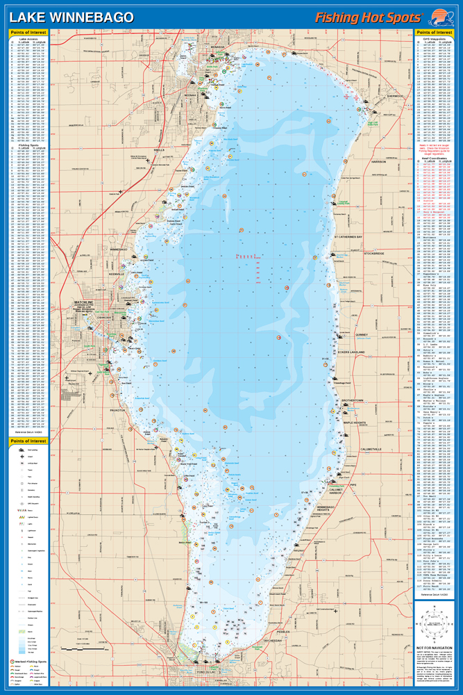 Lake Winnebago Map Winnebago Fishing Map, Lake (Winnebago Co) Lake Winnebago Map