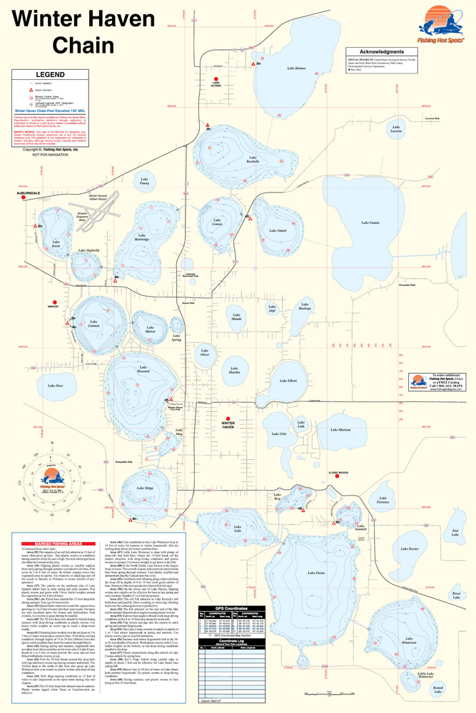 Detail Map Of Florida.Winter Haven Chain Fishing Map
