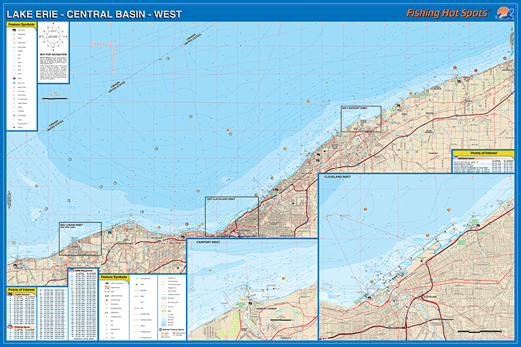 Erie Fishing Map LakeCentral Basin West Fishing Map Lake Ruggles
