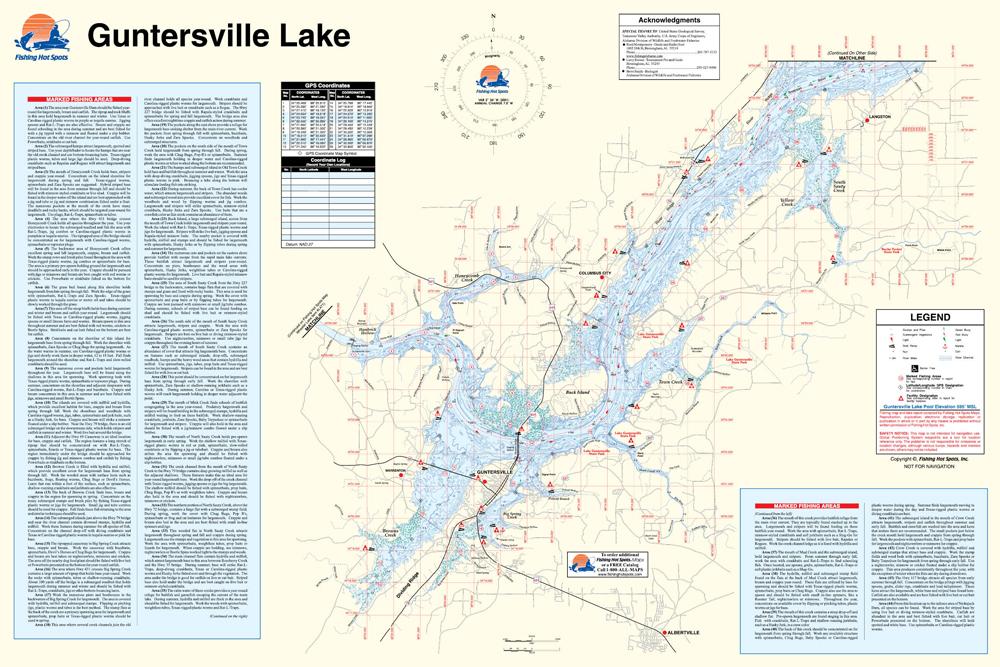 Lake Guntersville Map Guntersville Lake Fishing Map