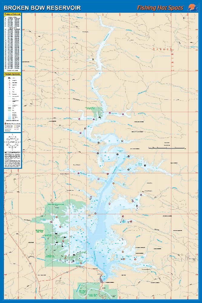 Broken Bow Lake Map Broken Bow Reservoir Fishing Map