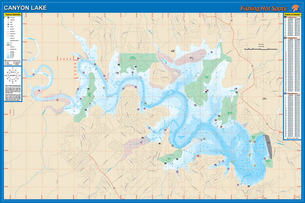 Canyon fishing map lake for Canyon lake fishing spots