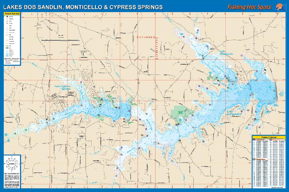lake bob sandlin map Lakes Bob Sandlin Fishing Map Monticello Cypress Springs lake bob sandlin map