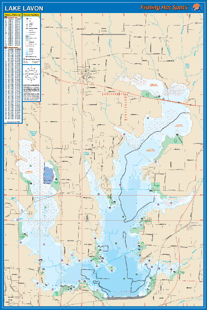 Lavon fishing map lake for Fishing spots in dallas