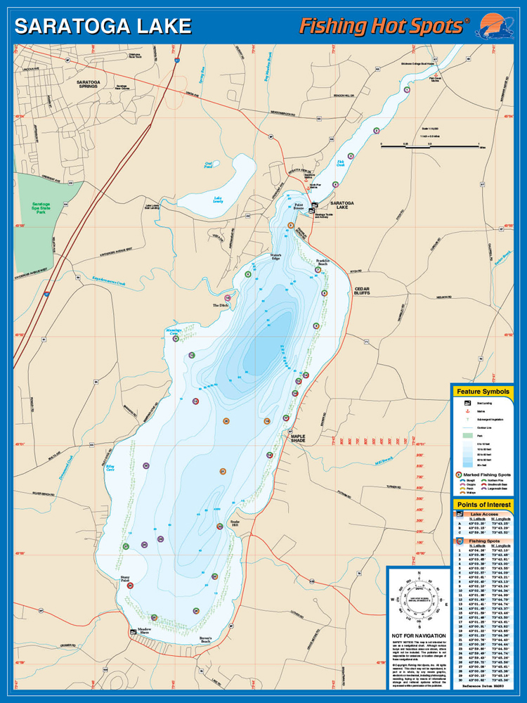 Saratoga New York Map.Saratoga Lake Fishing Map