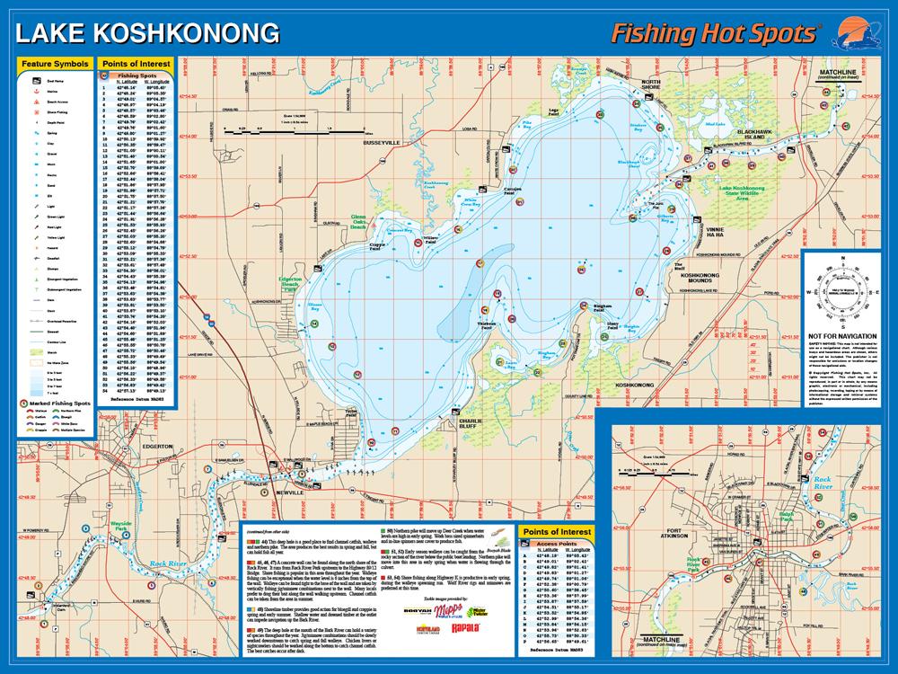 Koshkonong/Rock River Fishing Map, Lake (Jefferson Co)