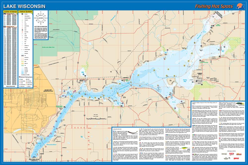 Wisconsin fishing map lake columbia co for Lake wisconsin fishing