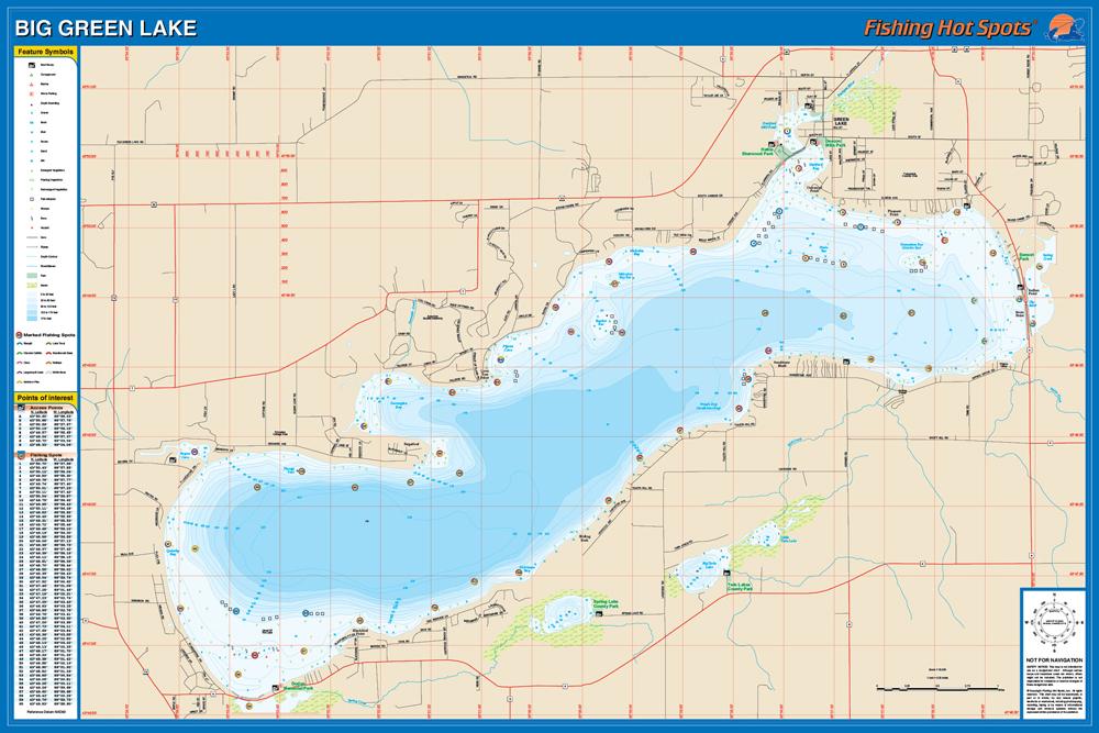 green lake wi map Big Green Lake Green Co Fishing Map green lake wi map