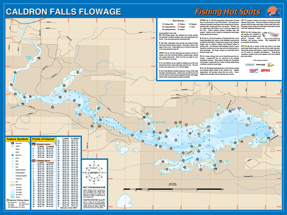 Falls Flowage Marinette Co Fishing Map - The great cauldron us map