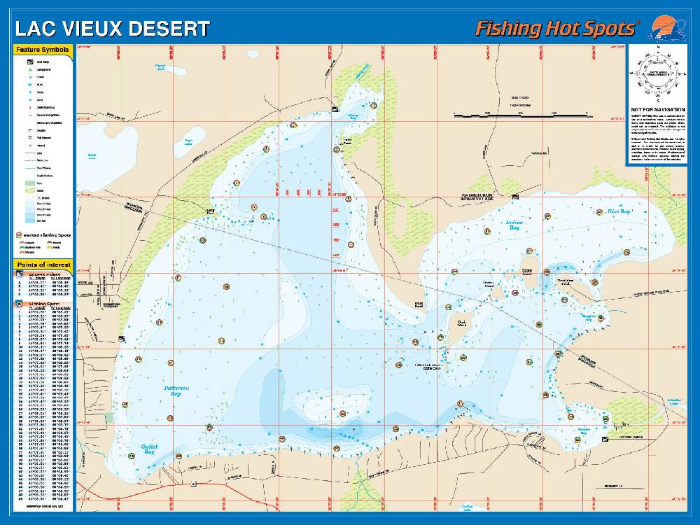 Lac Vieux Desert Fishing Map