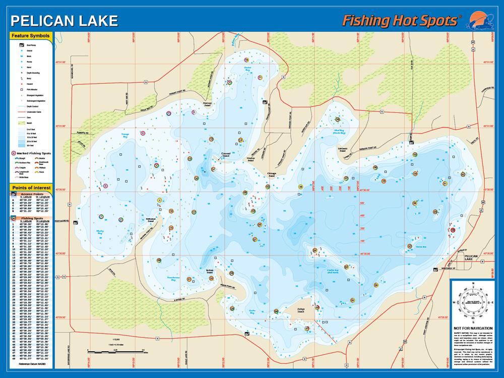 pelican lake wi map Pelican Lake Oneida Co Wi Fishing Map pelican lake wi map