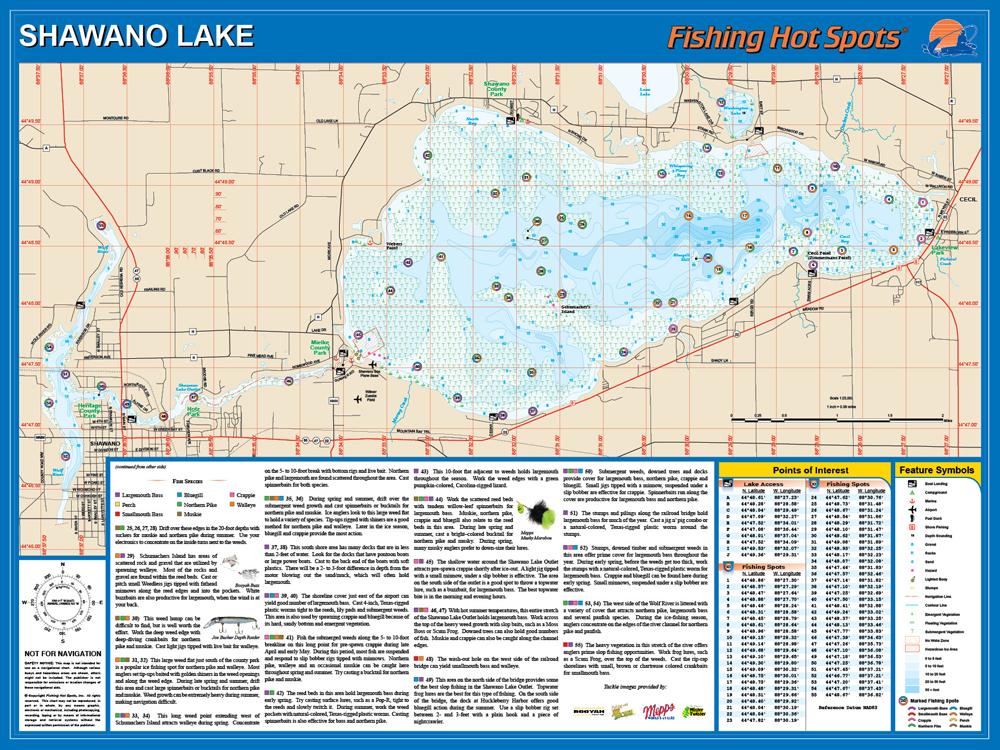 Shawano Lake (Shawano Co) Fishing Map