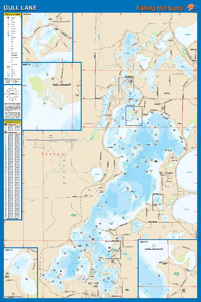 Gull Lake (Crow Wing/Cass Co. Fishing Map, MN) Fishing Map