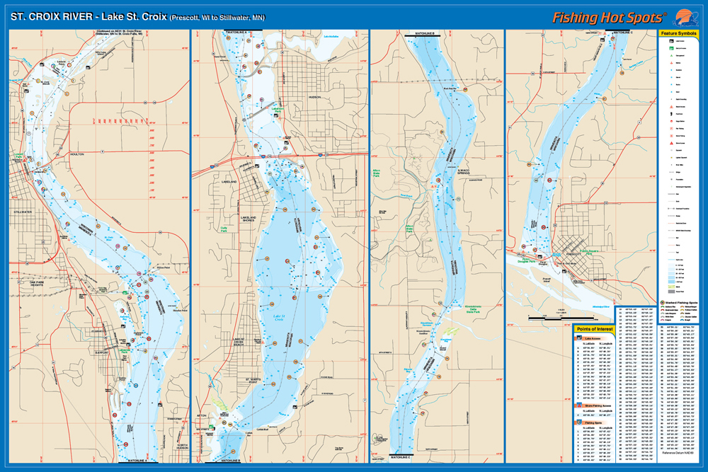 st croix river prescott to stillwater wimn fishing map