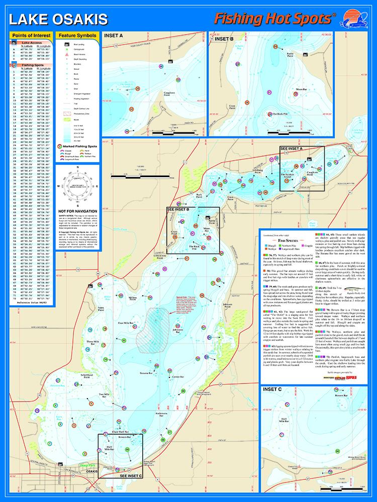 Osakis fishing map lake for Fishing lake maps