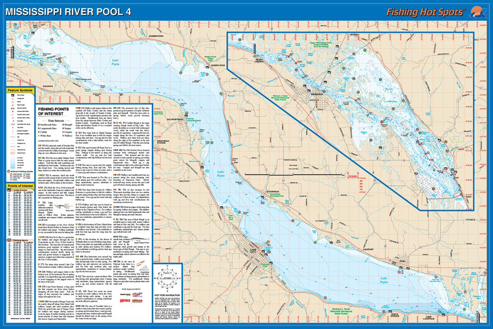 Mississippi RiverPool Fishing Map Lake Includes Pepin WIMN - Map mississippi