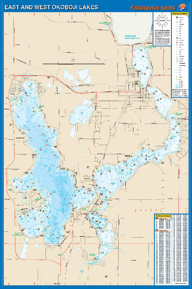 Okoboji Lakes-East/West Map on milford iowa, map of west davenport iowa, lake okoboji arnold's park iowa, map okoboji bridges bay resort, dickinson county iowa, map of lake okoboji,