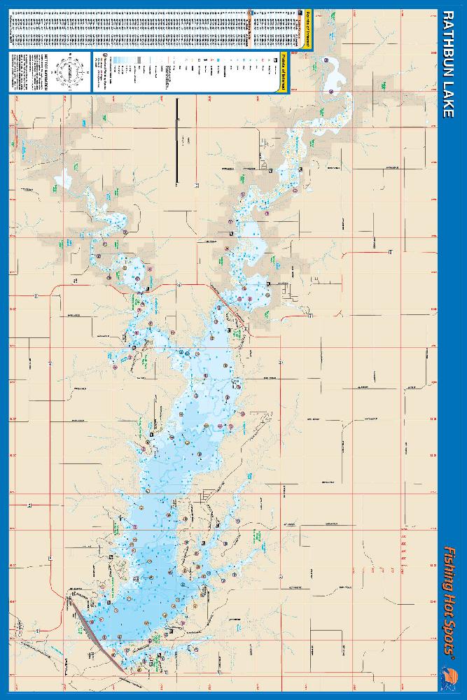 Rathbun lake fishing map for Iowa fishing lakes