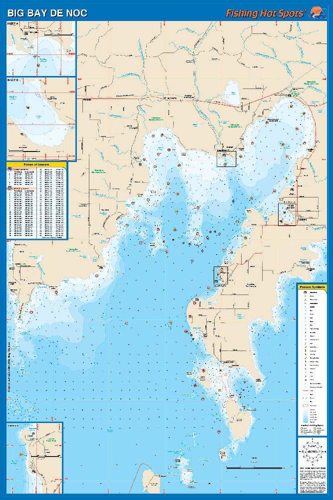 Bay De Noc Fishing Map Lake Michigan - Lake michigan map