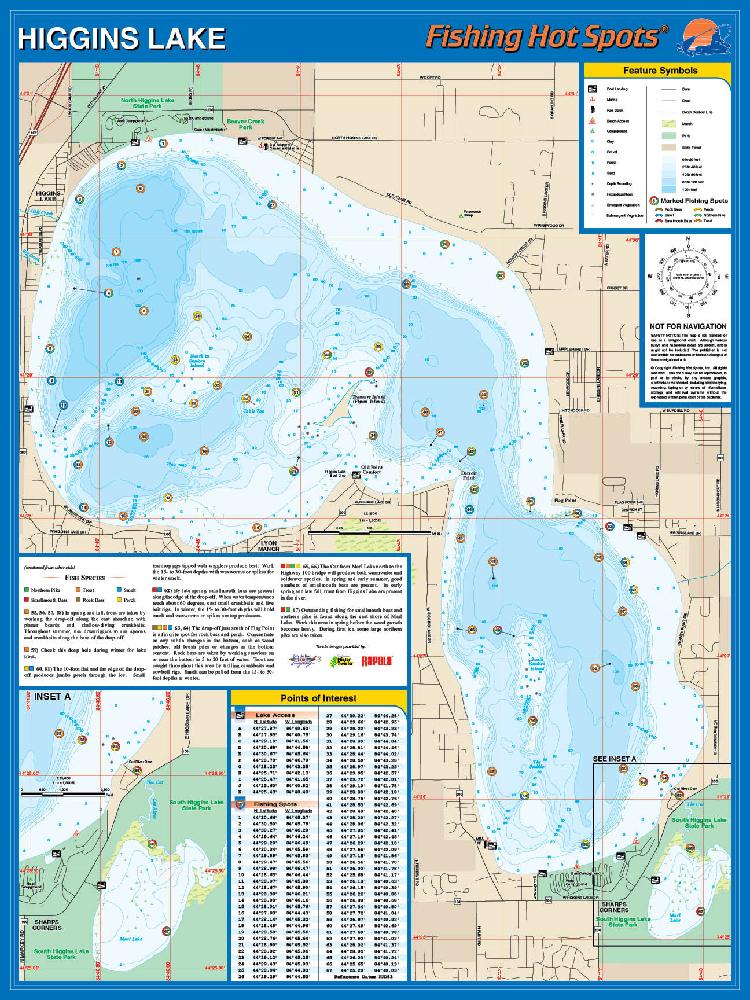 Higgins lake fishing map for Fishing lake maps