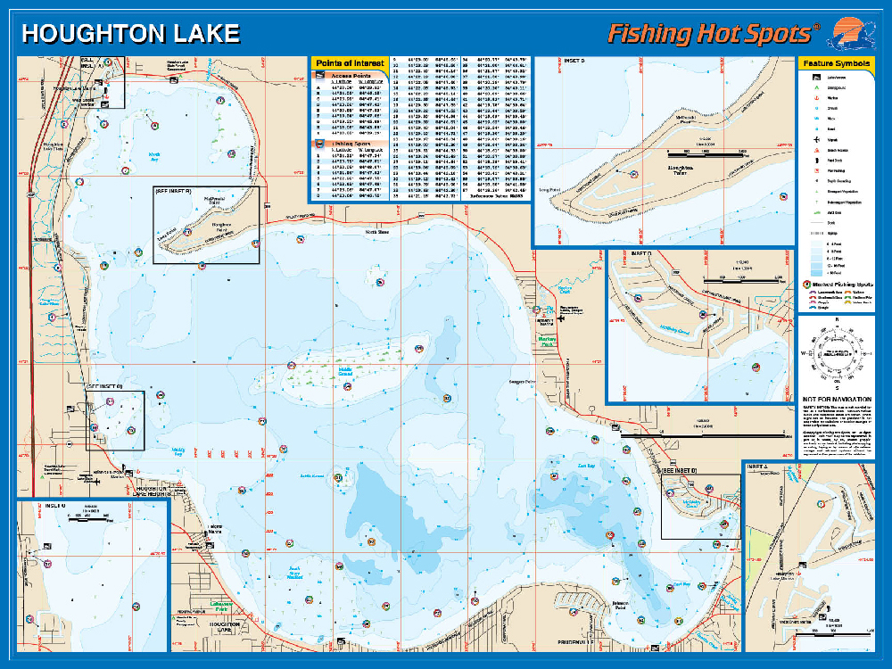 Houghton lake fishing map for Fishing spots finder