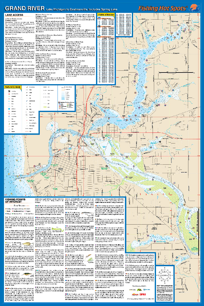 Grand River (Lk Michigan to Eastmanville & Spring Lk) Fishing Map
