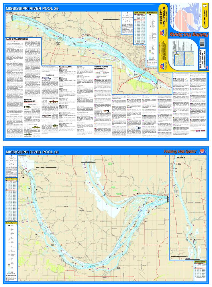 Mississippi RiverPool Alton ILMO Fishing Map - Mississippi river map