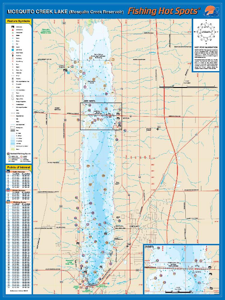 Mosquito creek lake for Fishing hot spots maps