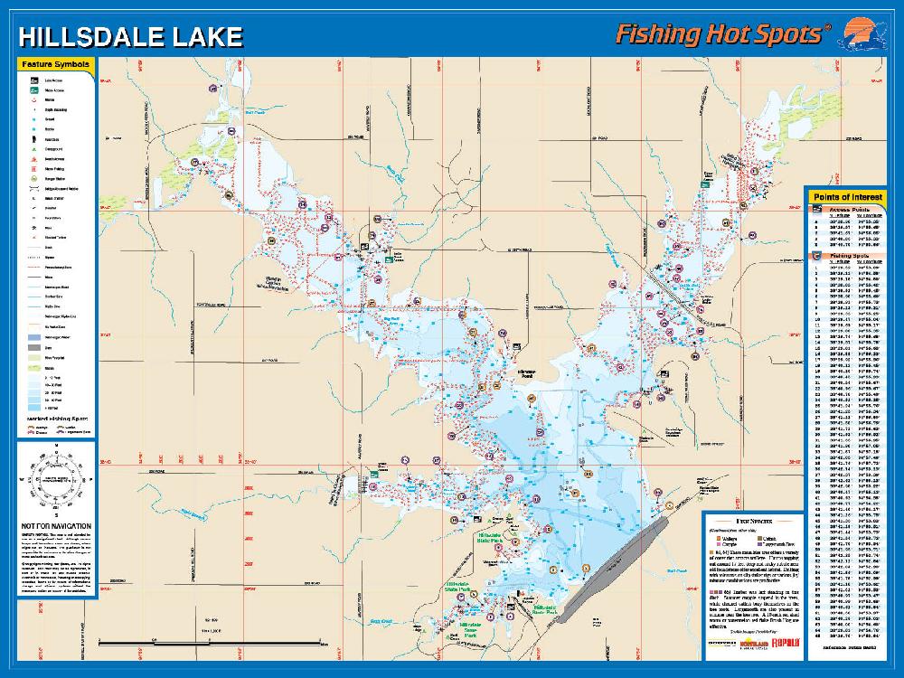 Hillsdale lake fishing map for Fishing hot spots maps