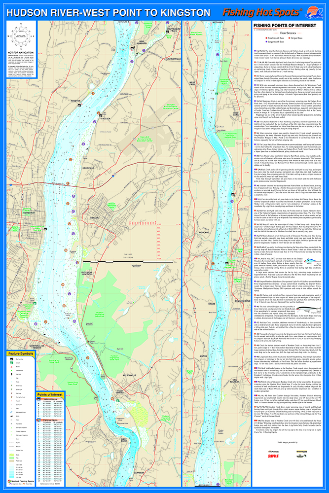 Hudson river south west point kingston fishing map for Hudson river fishing spots