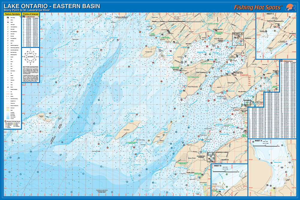 Ontario Fishing Map, Lake (Stony Point to St. Lawrence River) Fishing ...