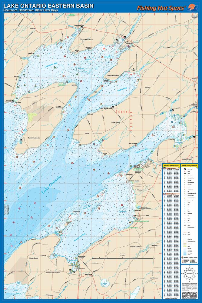 Ontario Fishing Map, Lake (Chaumont Fishing Map, Henderson Fishing ...